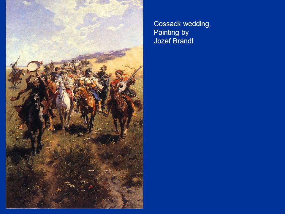Cossack wedding, Painting by Jozef Brandt 14