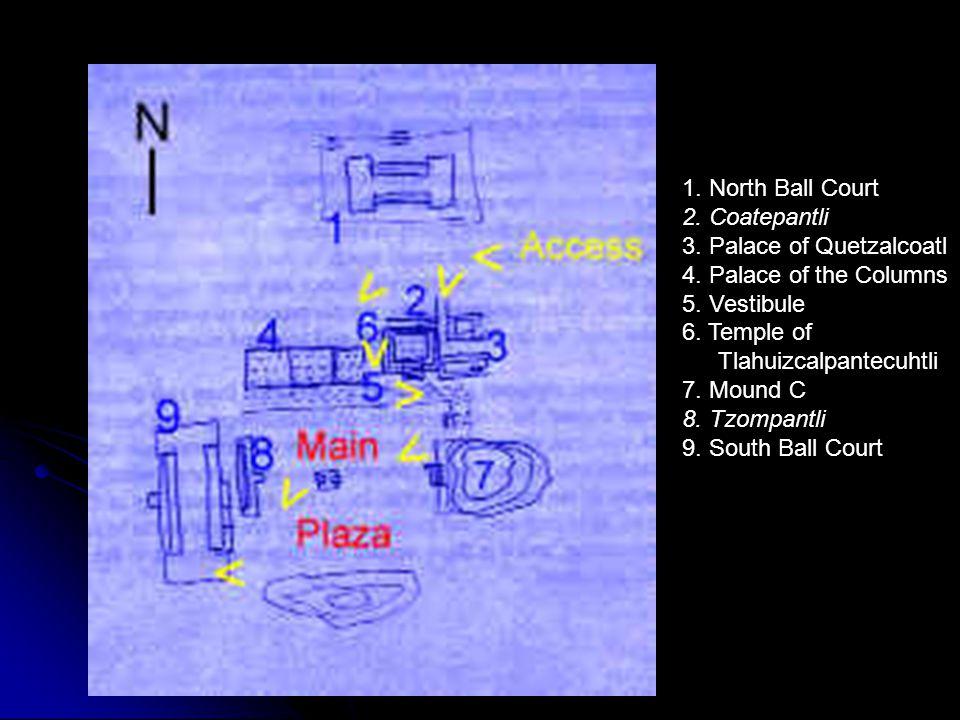 1. North Ball Court 2. Coatepantli. 3. Palace of Quetzalcoatl. 4. Palace of the Columns. 5. Vestibule.