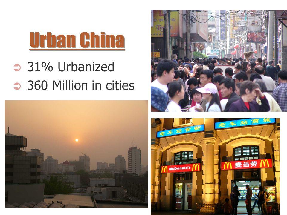 Urban China 31% Urbanized 360 Million in cities