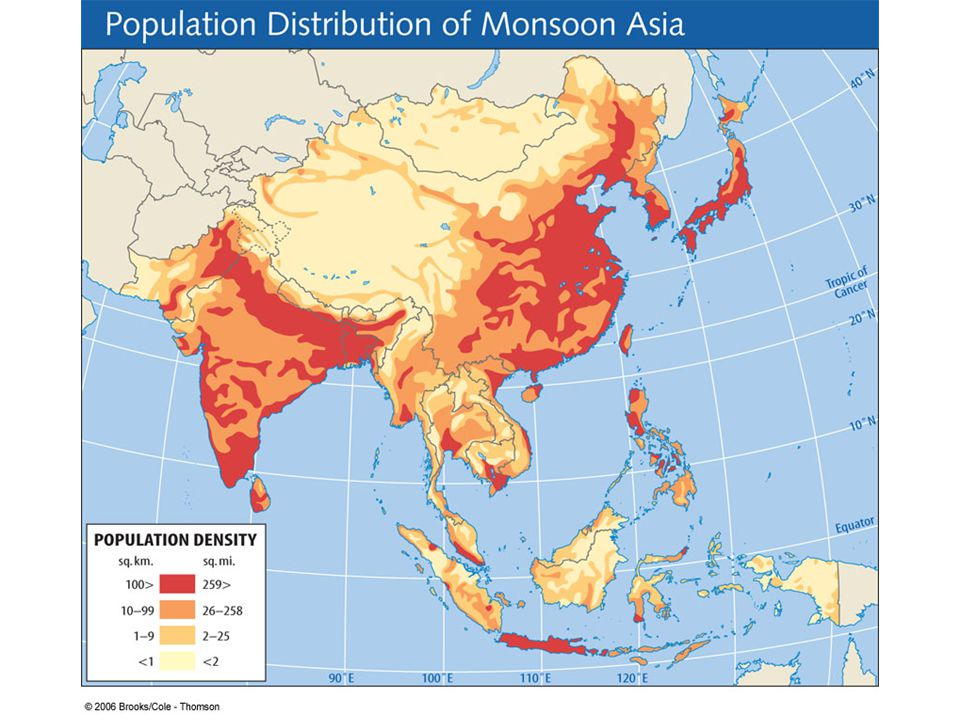 Figure 10.3a: Population distribution of Monsoon Asia.