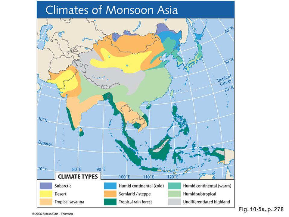 Figure 10.5a: Climates of Monsoon Asia.