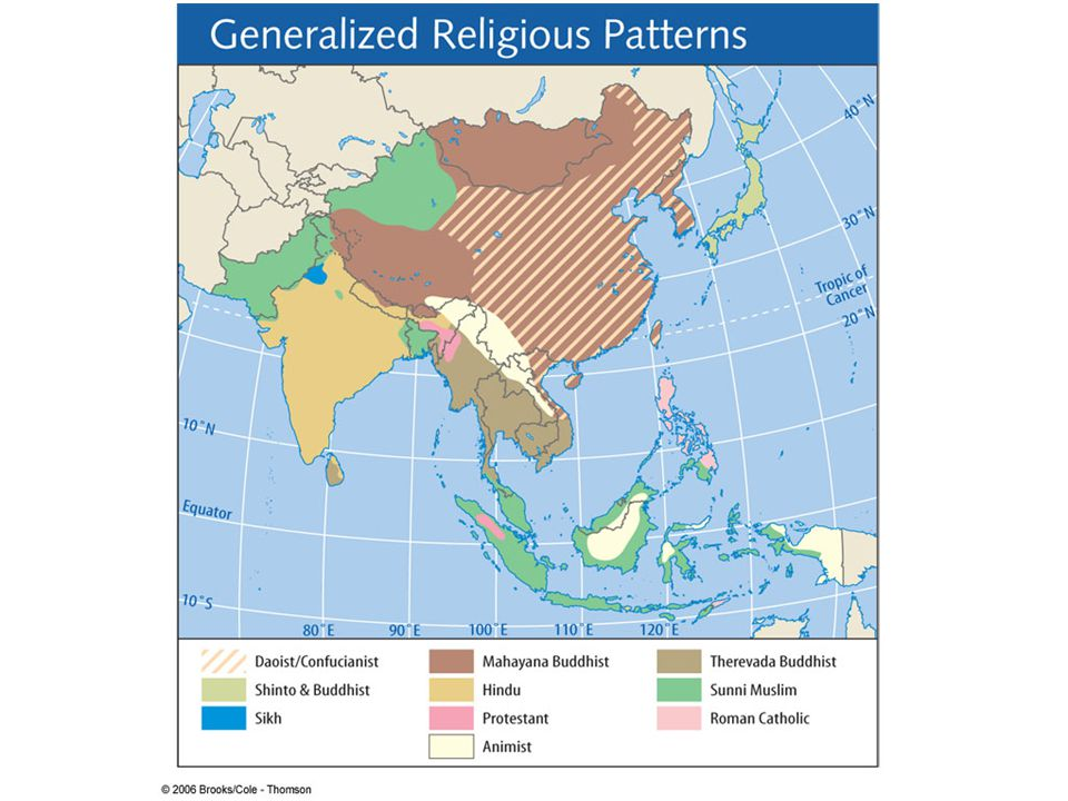 Figure 10.11: Religions of Monsoon Asia.