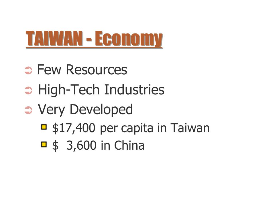 TAIWAN - Economy Few Resources High-Tech Industries Very Developed