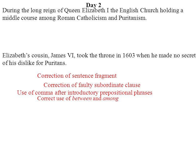 Correction of sentence fragment