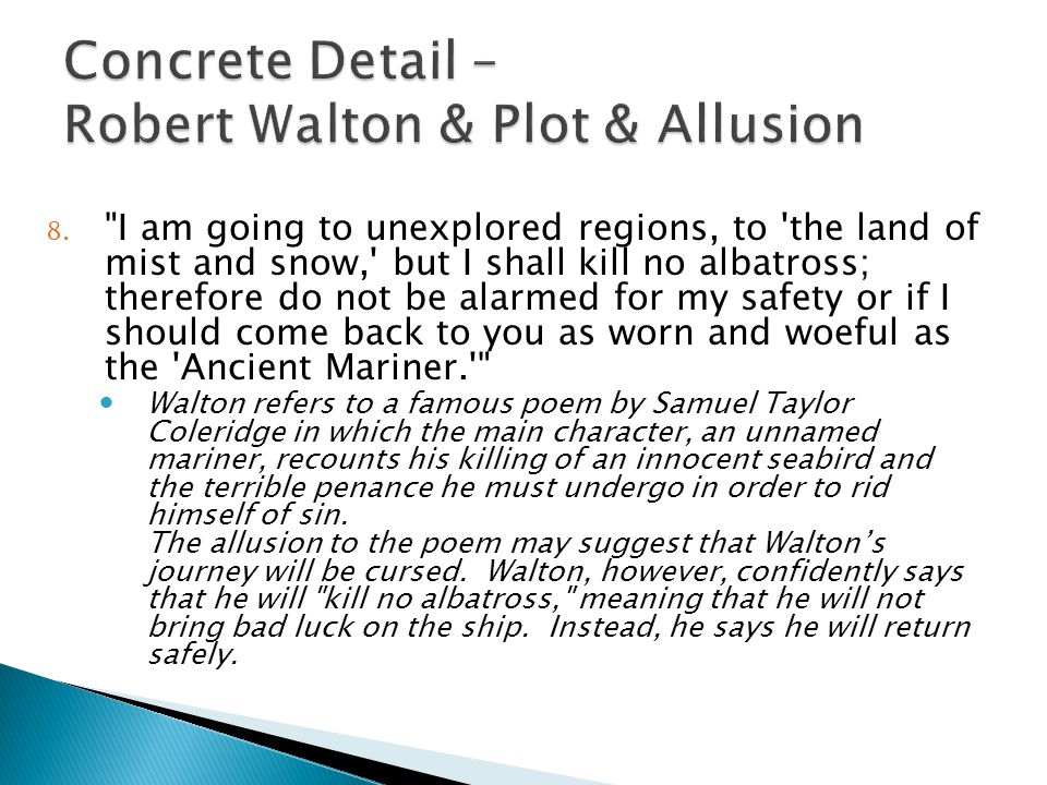 Concrete Detail – Robert Walton & Plot & Allusion