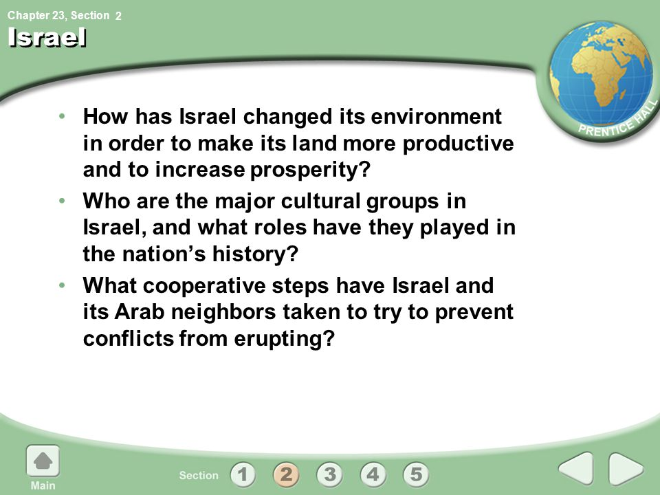 2 Israel. How has Israel changed its environment in order to make its land more productive and to increase prosperity