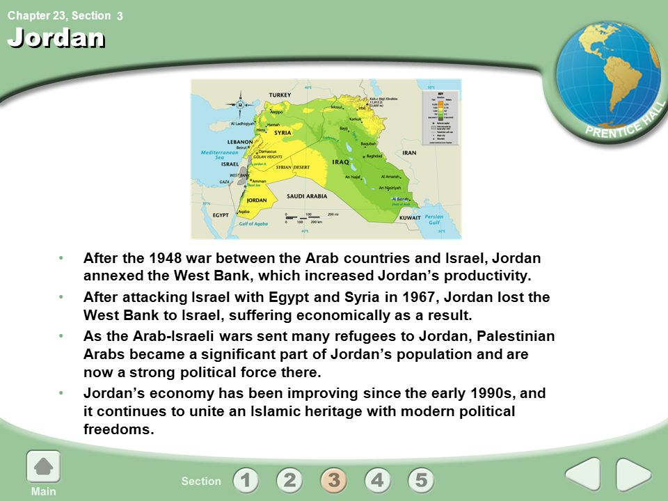 3 Jordan. After the 1948 war between the Arab countries and Israel, Jordan annexed the West Bank, which increased Jordan's productivity.