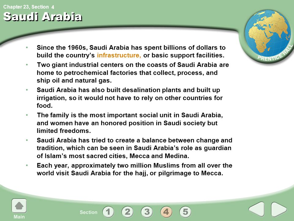 4 Saudi Arabia. Since the 1960s, Saudi Arabia has spent billions of dollars to build the country's infrastructure, or basic support facilities.
