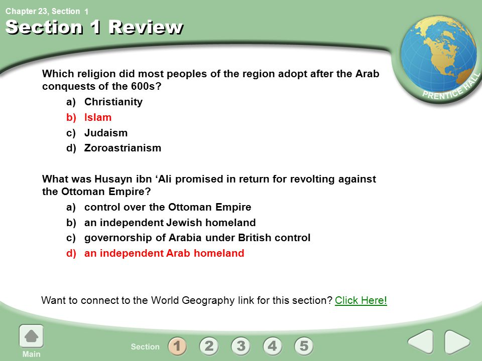 1 Section 1 Review. Which religion did most peoples of the region adopt after the Arab conquests of the 600s