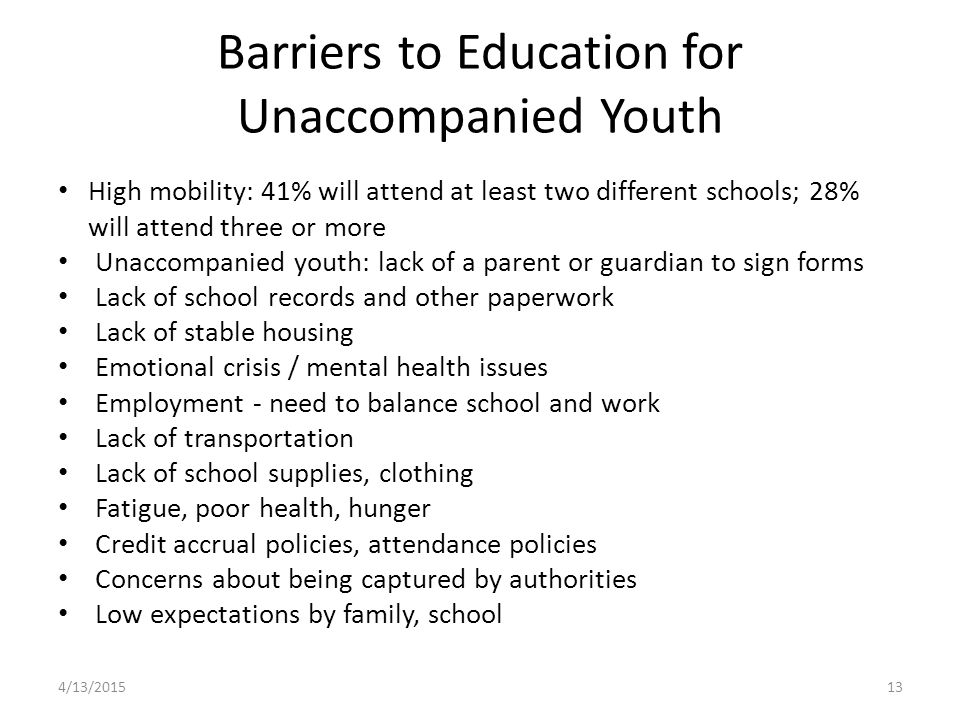 Barriers to Education for Unaccompanied Youth