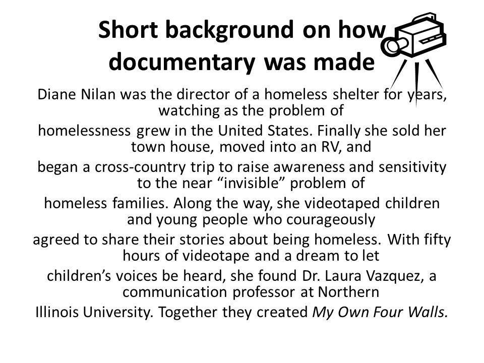 Short background on how documentary was made