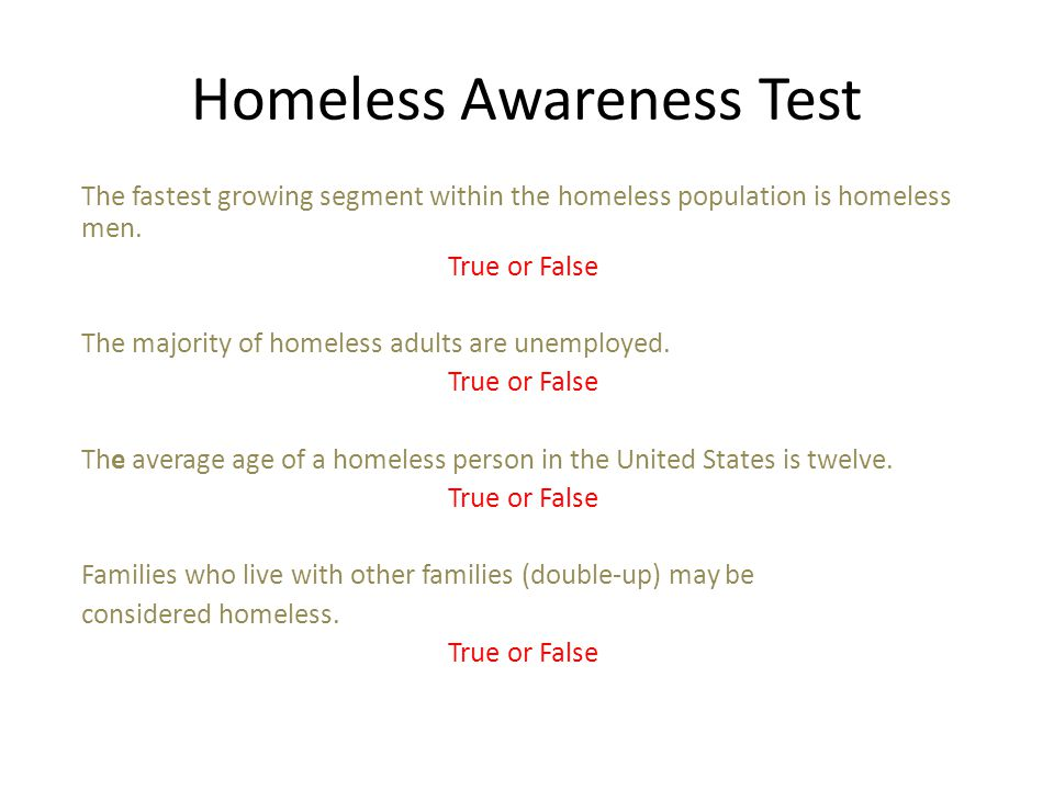 Homeless Awareness Test