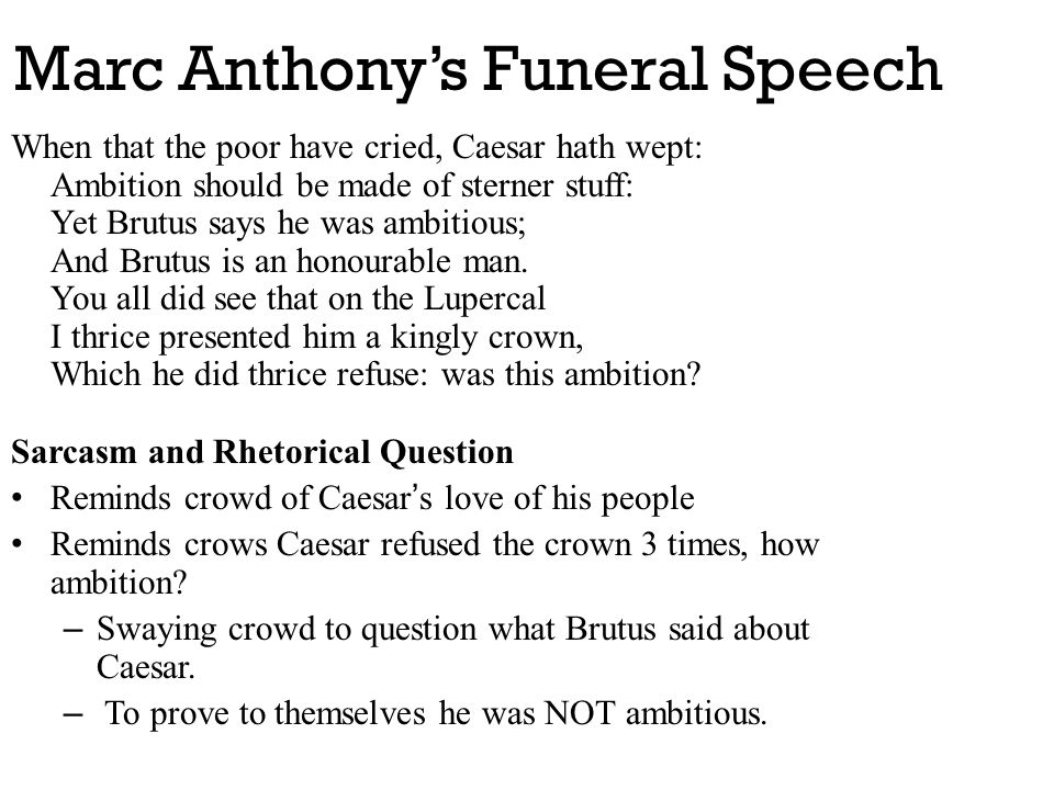 Marc Anthony's Funeral Speech