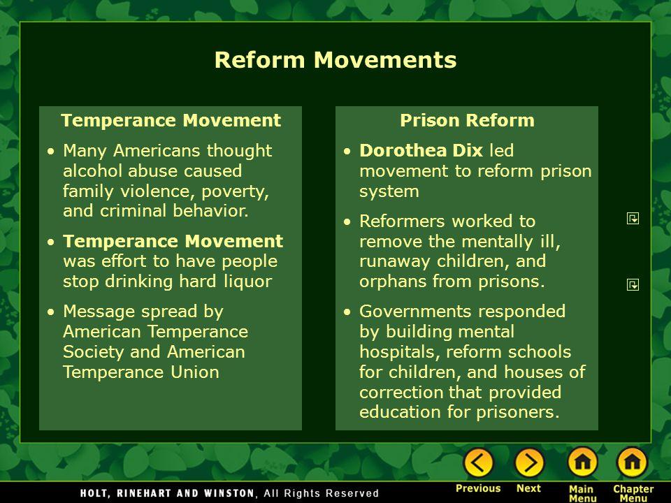 Reform Movements Temperance Movement
