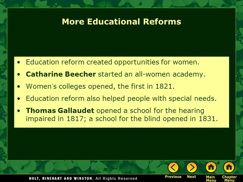 More Educational Reforms