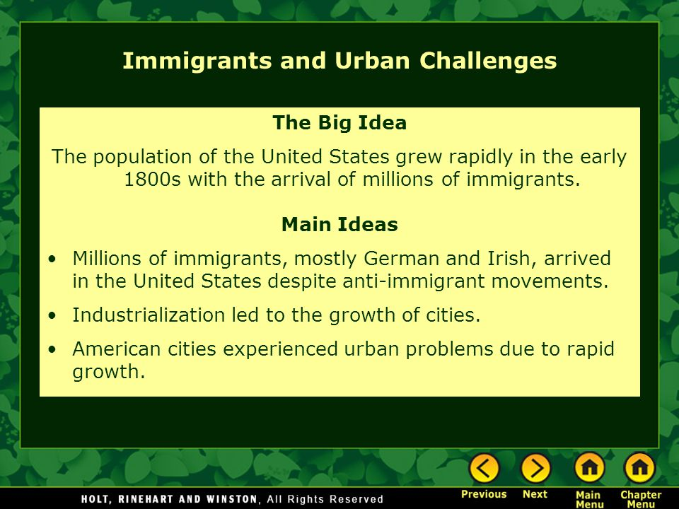 Immigrants and Urban Challenges