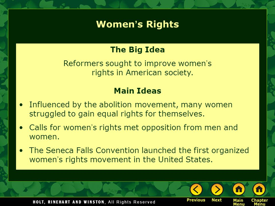Reformers sought to improve women's rights in American society.