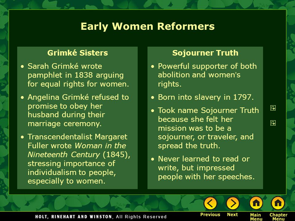 Early Women Reformers Grimké Sisters