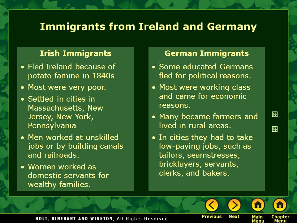 Immigrants from Ireland and Germany