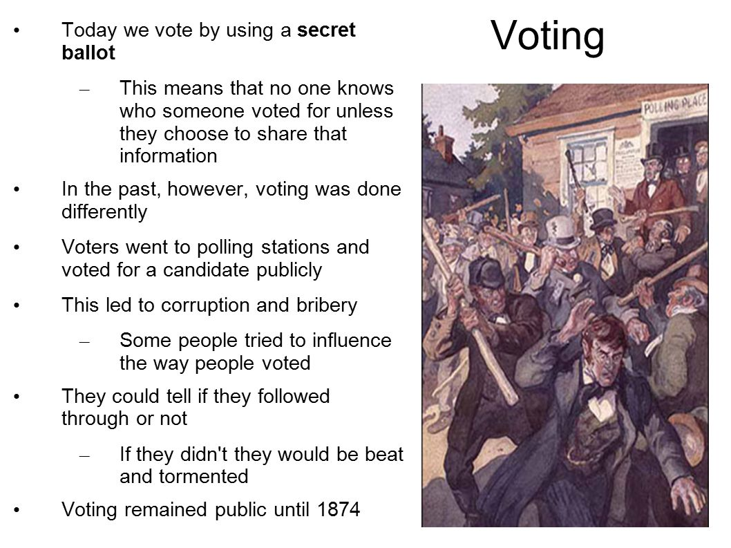 Voting Today we vote by using a secret ballot