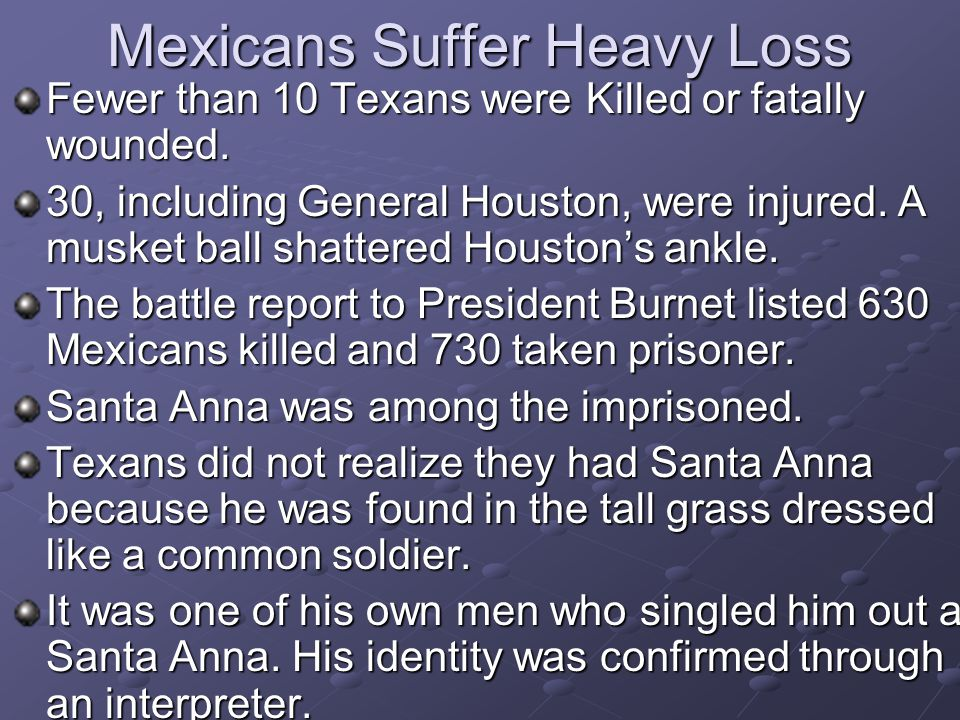 Mexicans Suffer Heavy Loss