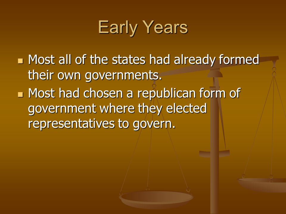 Early Years Most all of the states had already formed their own governments.