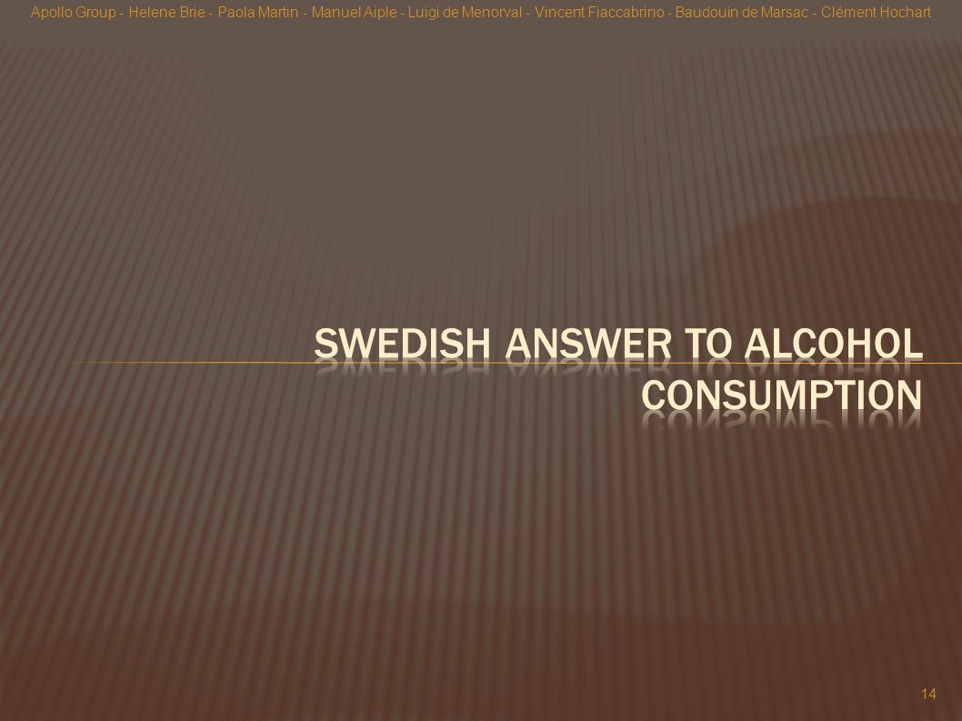 Swedish Answer to alcohol consumption