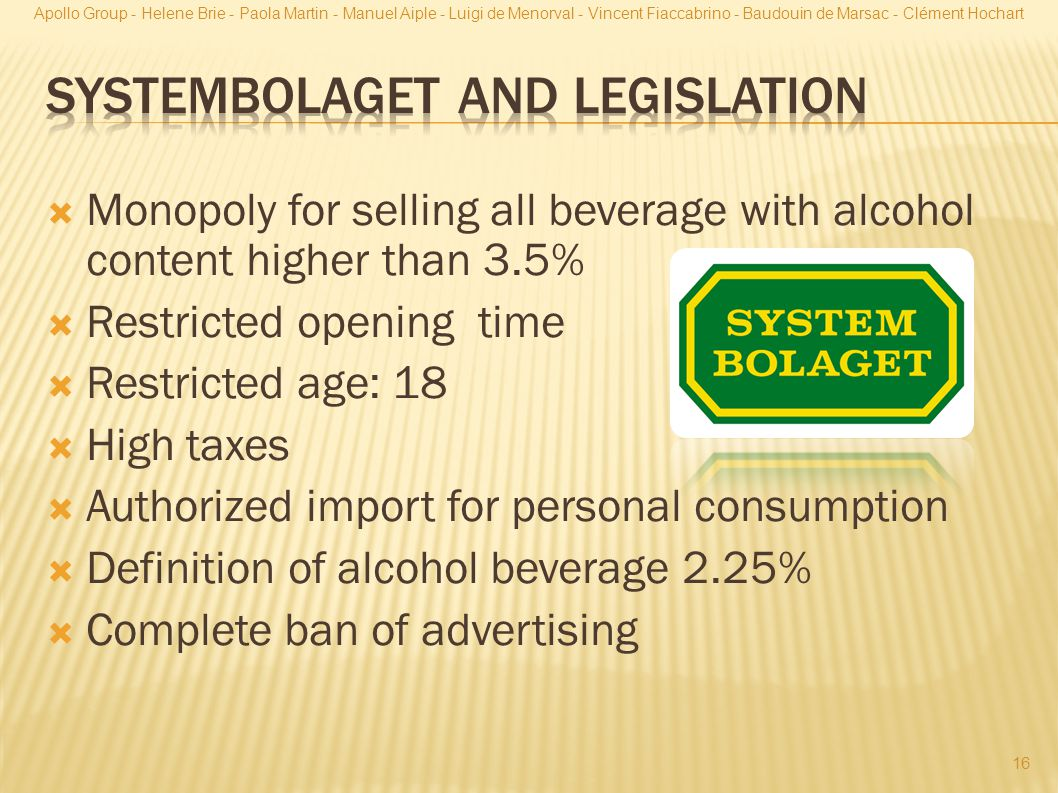 Systembolaget and legislation