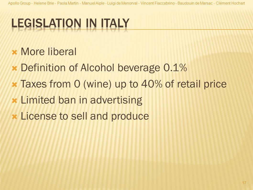 Legislation in Italy More liberal Definition of Alcohol beverage 0.1%