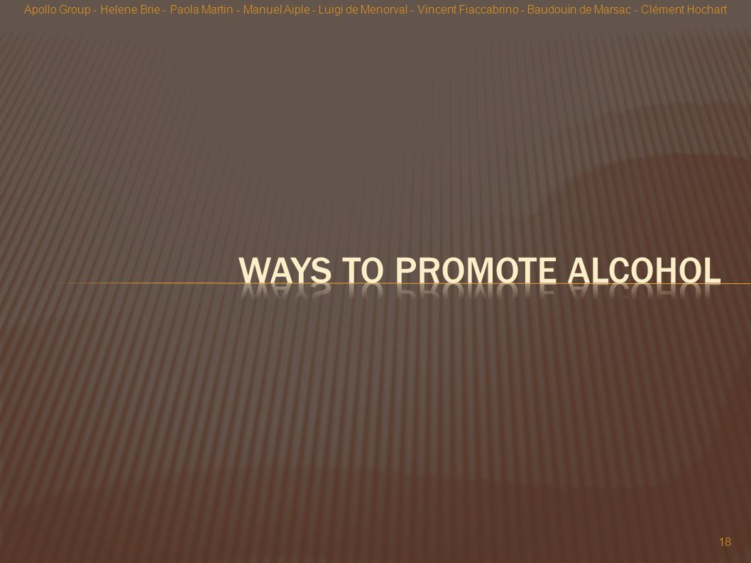 Ways to promote alcohol