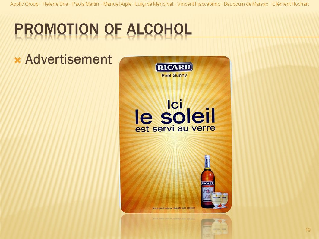 Promotion of Alcohol Advertisement