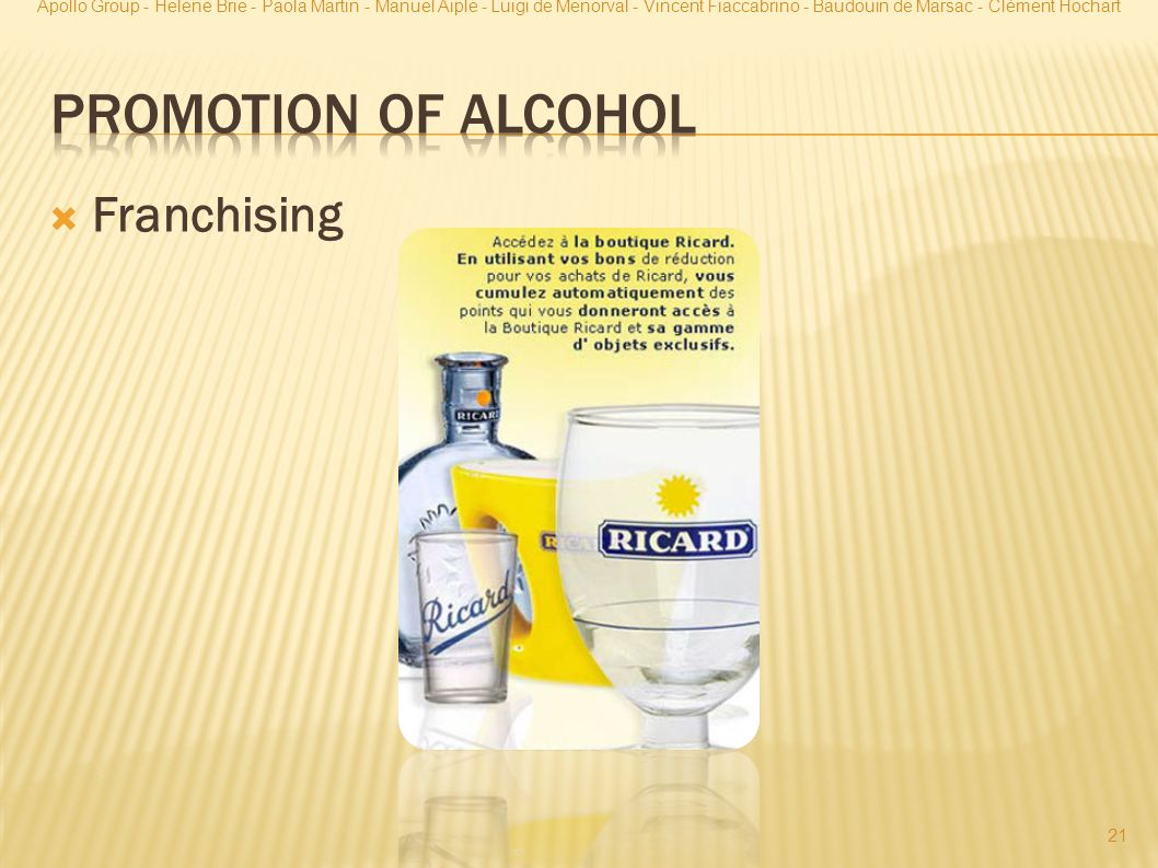 Promotion of Alcohol Franchising