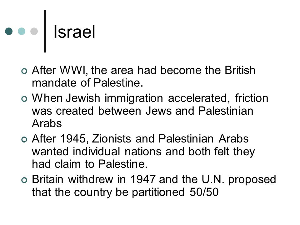 Israel After WWI, the area had become the British mandate of Palestine.