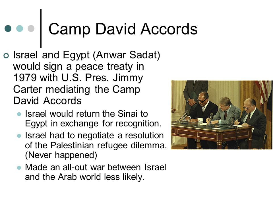 Camp David Accords Israel and Egypt (Anwar Sadat) would sign a peace treaty in 1979 with U.S. Pres. Jimmy Carter mediating the Camp David Accords.