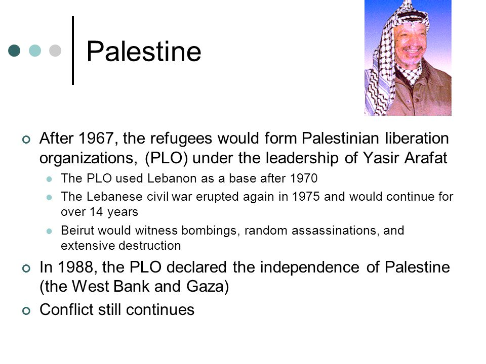 Palestine After 1967, the refugees would form Palestinian liberation organizations, (PLO) under the leadership of Yasir Arafat.