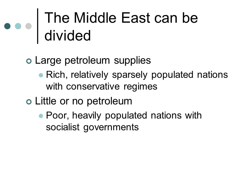 The Middle East can be divided