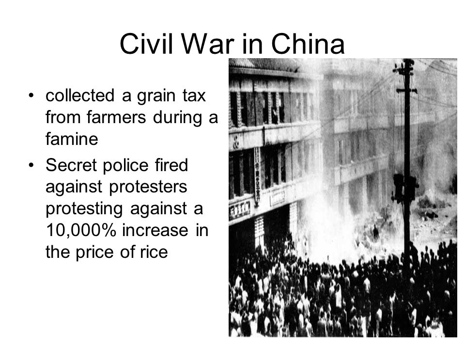 Civil War in China collected a grain tax from farmers during a famine