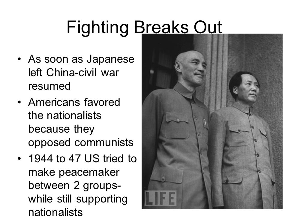 Fighting Breaks Out As soon as Japanese left China-civil war resumed