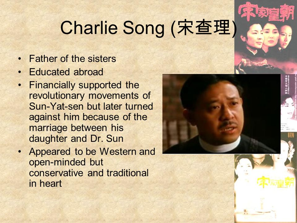 Charlie Song (宋查理) Father of the sisters Educated abroad
