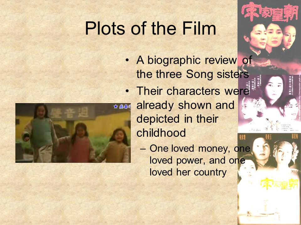 Plots of the Film A biographic review of the three Song sisters