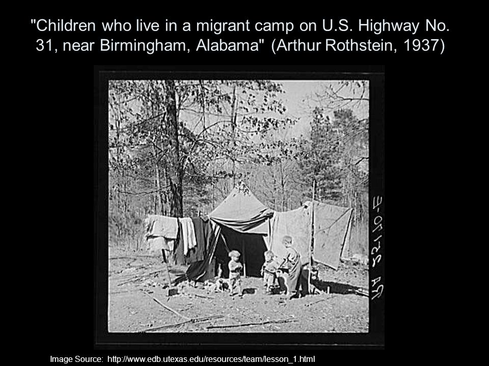 Children who live in a migrant camp on U. S. Highway No