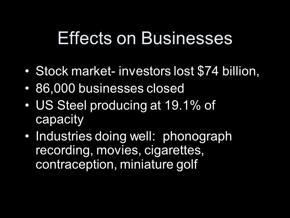 Effects on Businesses Stock market- investors lost $74 billion,