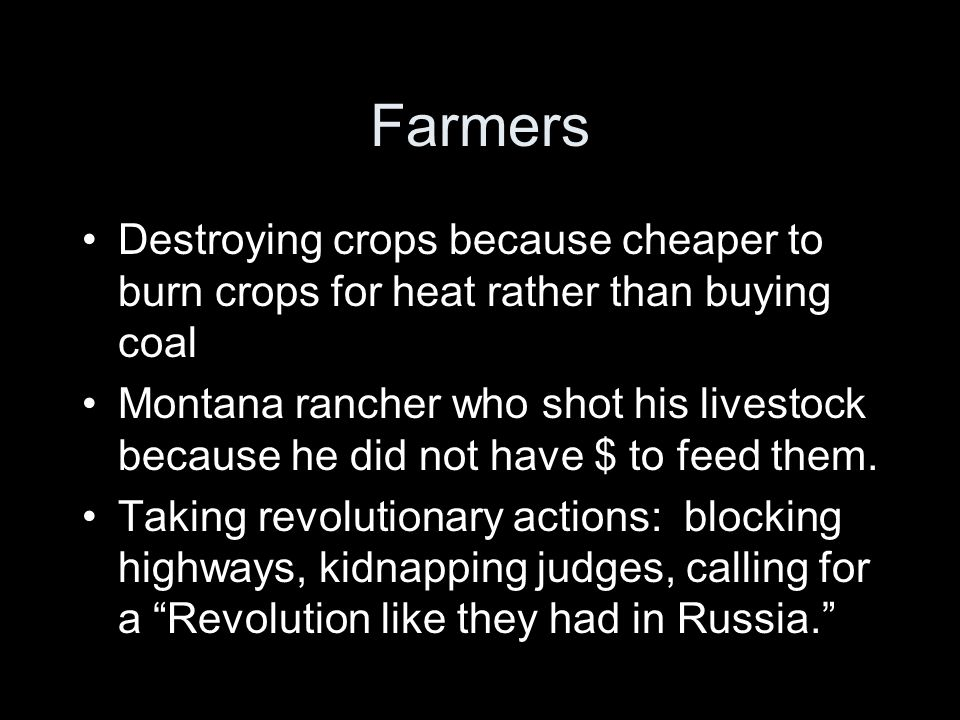 Farmers Destroying crops because cheaper to burn crops for heat rather than buying coal.