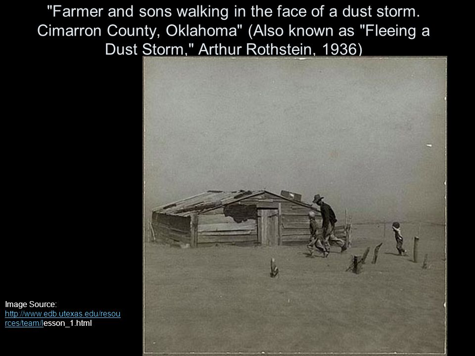Farmer and sons walking in the face of a dust storm