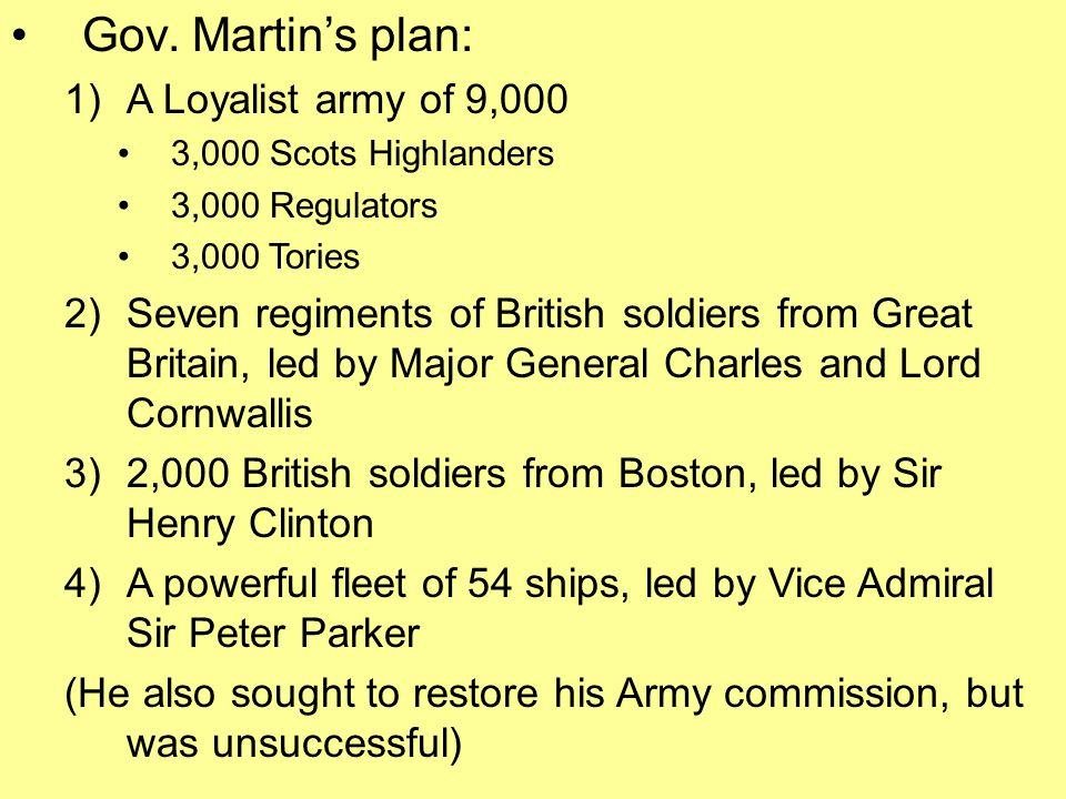 Gov. Martin's plan: A Loyalist army of 9,000