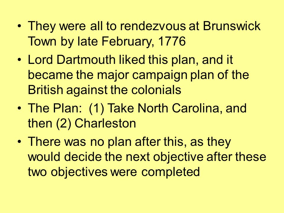 They were all to rendezvous at Brunswick Town by late February, 1776