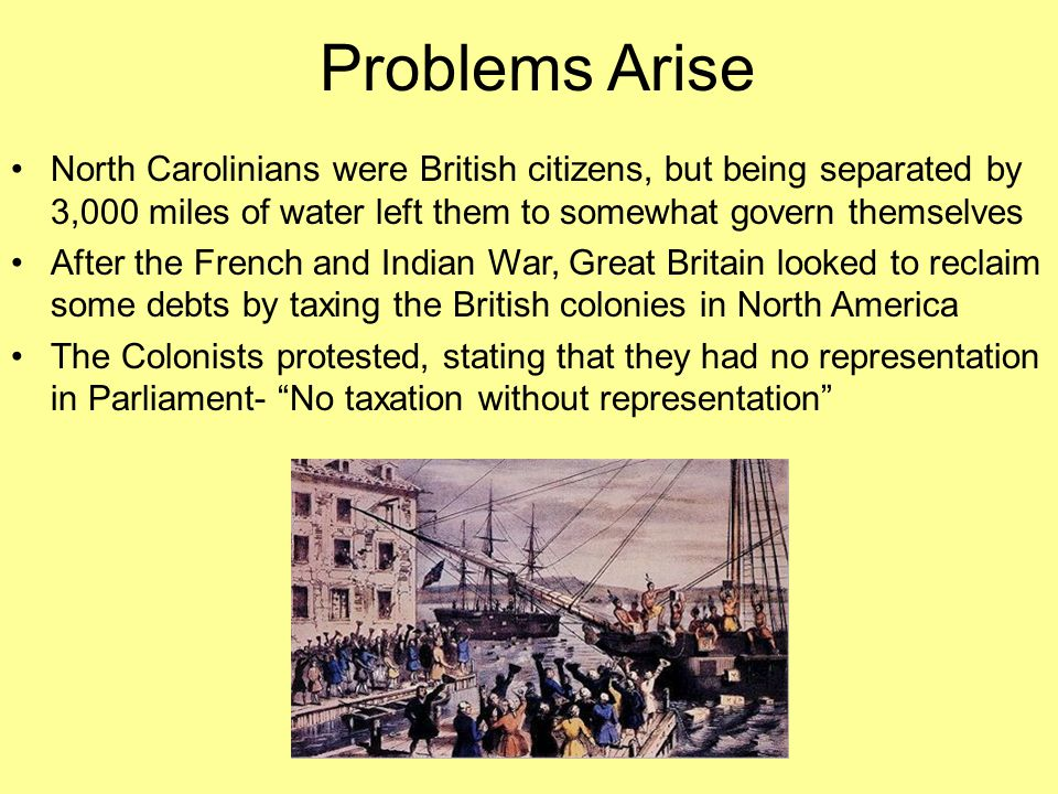 Problems Arise North Carolinians were British citizens, but being separated by 3,000 miles of water left them to somewhat govern themselves.