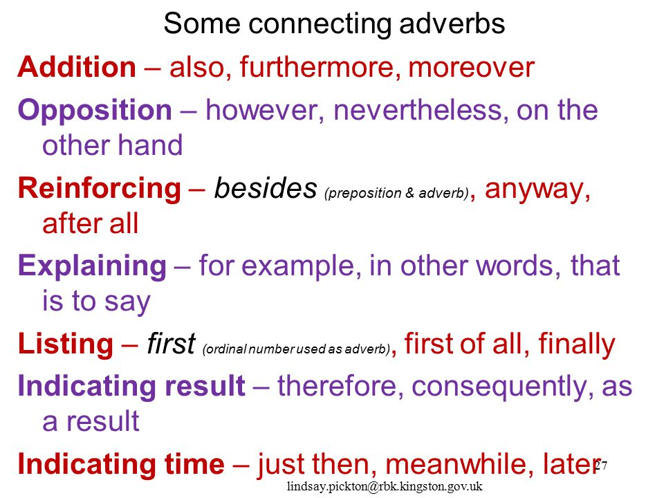 Some connecting adverbs