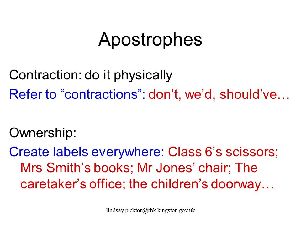 Apostrophes Contraction: do it physically