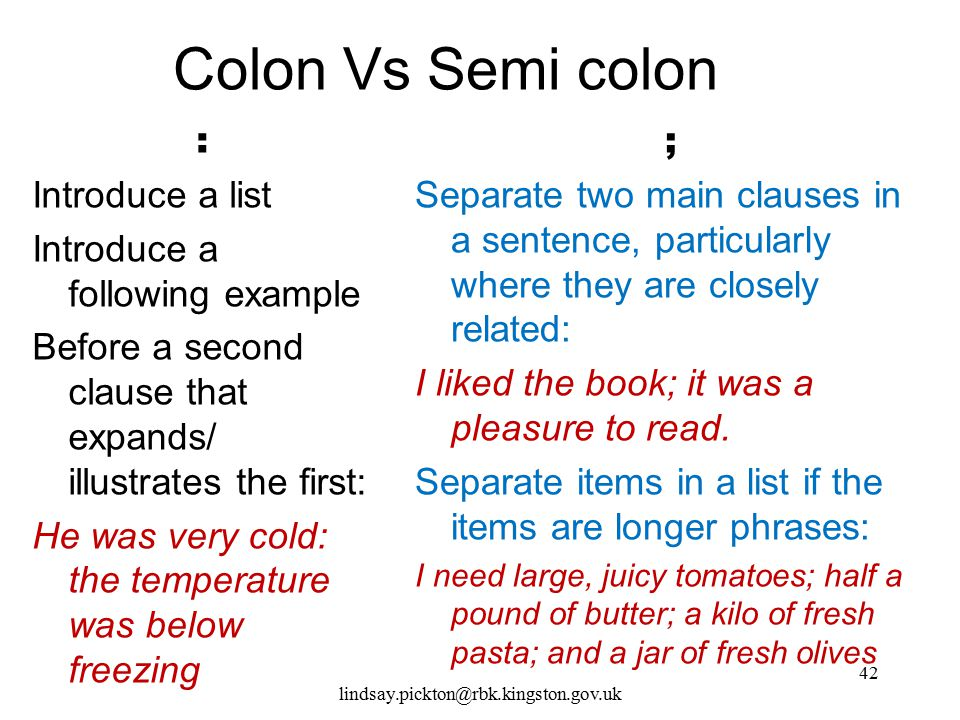 Colon Vs Semi colon